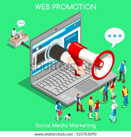 Isometric Social media marketing Advertise Promote People Isometric speaker 3D Flat Vector Icon Set Online Media Promote Social Web Template Mockup Flat Marketing advertise 3D People Web infographic