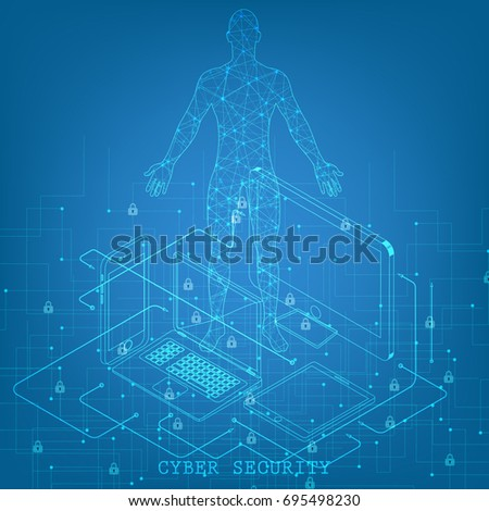Isometric social network background with person lines mobile computer tablet circles and integrate flat icons. Connected symbols for business digital, global concepts. Vector illustration