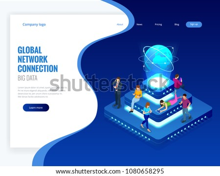 Isometric social network, technology, networking and internet concept. Global network connection, global datas exchanges over the globe, big data. Vector illustration.