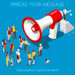 Isometric Social Web Megaphone Promotion Audience Business Leader People Isometric loudspeaker 3D Icon Communication Marketing Audience Businessman People Megaphone loudspeaker Target Marketing Vector