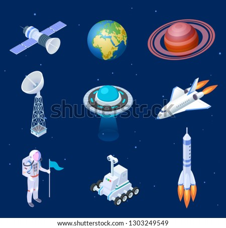 ISOMETRIC SPACESHIPS. Space satellite rocket telescope globe spaceman astronaut. Missile spacecraft 3d isolated vector set