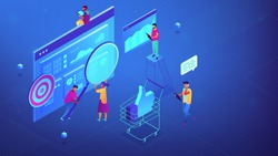 Isometric specialists working on digital marketing strategy illustration. Digital marketing, seo, digital analysis, profit concept. Blue violet background. Vector 3d isometric illustration.