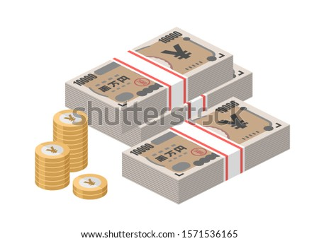 Isometric stacks of 10000 Japanese Yen banknotes and coins. Japan paper money. Ten thousand bills. Big pile of cash. Currency notes. Flat style vector illustration.