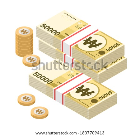 Isometric stacks of 50000 South Korean Won banknotes and coins. Fifty thousand bills of Korea money. KRW currency notes. Flat style. Vector illustration. Foto stock ©
