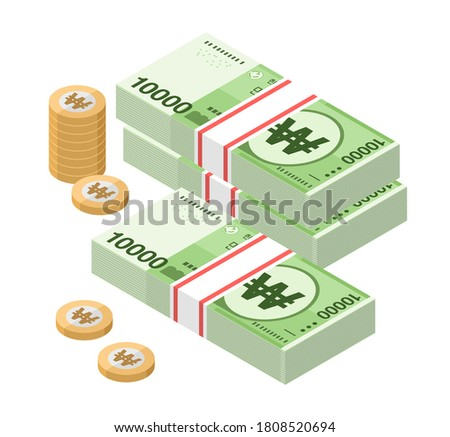 Isometric stacks of 10000 South Korean Won banknotes and coins. Ten thousand bills of Korea money. KRW currency notes. Flat style. Vector illustration.