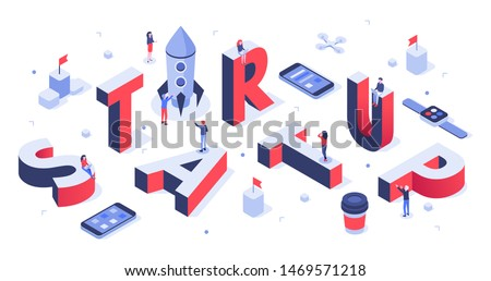 Isometric startup lettering. Company launch, startups business banner and abstract creative. Creativity it startup teams meeting or teamwork 3d vector background illustration