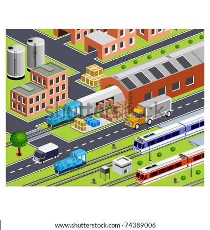 isometric station with all buildings and transport