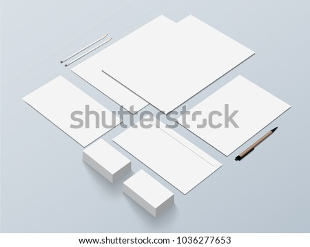 Isometric Stationery Mockup For Presentation. Vector illustration.