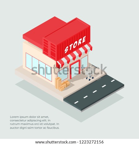 isometric store building vector with trolley cart and cardboards