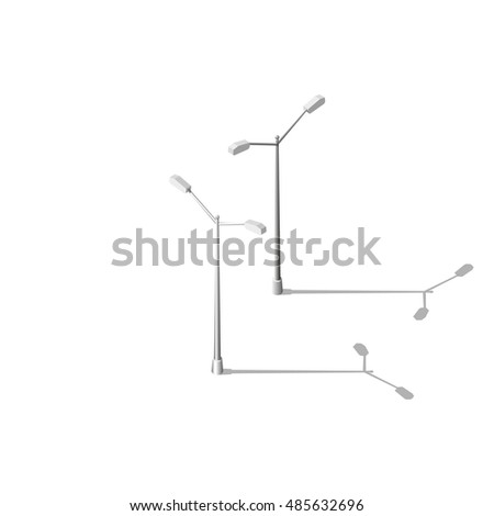 Isometric street lighting. Modern realistic street lamp isolated on white background. Isometric map pieces.