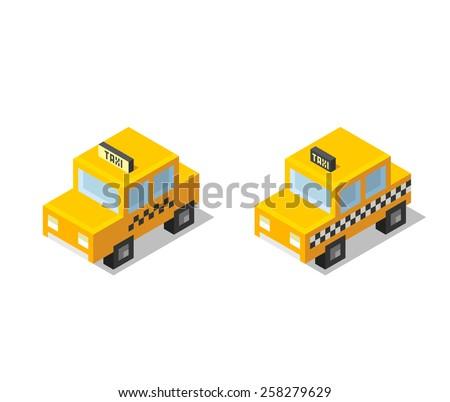 isometric stylized cartoon taxi
