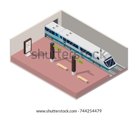Isometric Subway station platform set with train, underground and inside the railway, metro wagon.