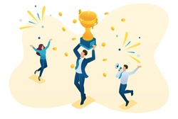 Isometric successful businessman celebrating a victory, and to triumph in Cup winners. Concept for web design.