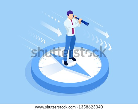 Isometric successful businessman standing and looking through a telescope. Risk in business or Perspective business planning, career opportunities, and career ladder