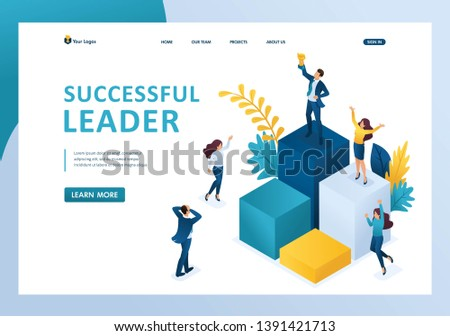 Isometric successful leader on the podium with a prize, the team enjoys success. Template landing page.