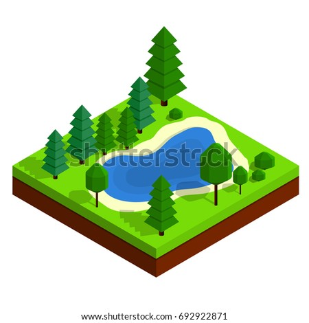 isometric summer landscape with