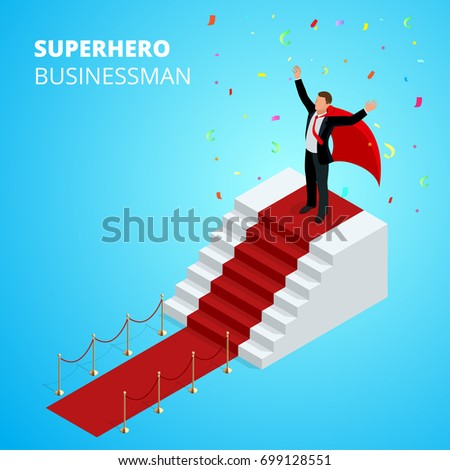 Isometric Super Hero Businessman on the Podium with red carpet isolated on white background. Realistic vector red event carpet, gold barriers