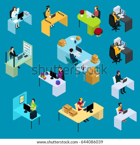 Isometric support workers collection of emergency taxi business flower store gift shop pizza delivery services isolated vector illustration