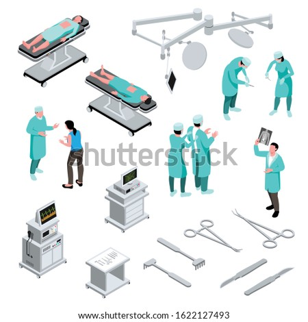 Isometric surgeon doctor set with isolated human characters of medical specialists icons of operating room equipment vector illustration