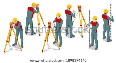 Isometric surveying measuring equipment level theodolite on tripod isolated on white background. Professional engineer surveyor takes measures with theodolite. Construction measuring tool