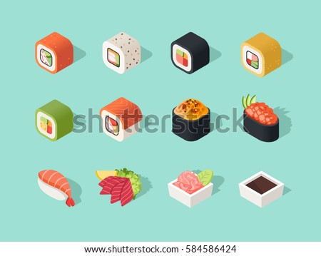 Isometric sushi icons on blue background for other categories.