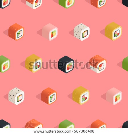 Isometric sushi seamless pattern on the pink background in flat style