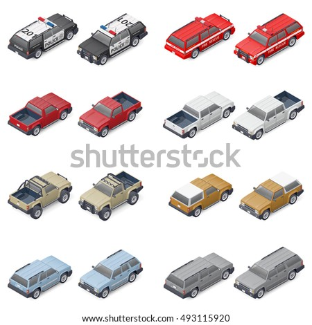 isometric suvs  pickup trucks