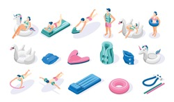 Isometric swimming aids icons set with people inflatable ring air bed noodle arm band isolated on white background 3d vector illustration