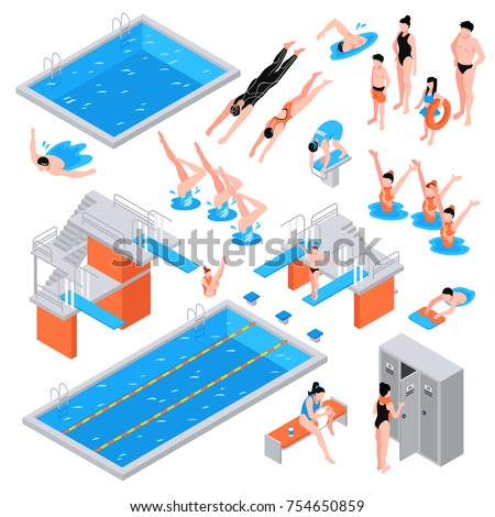 isometric swimming pool set of