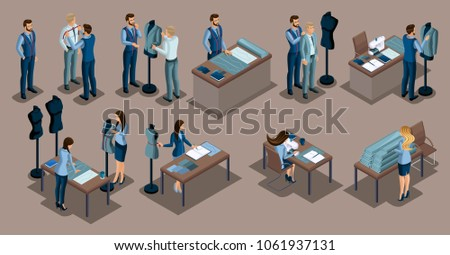 Isometric tailor, a set of mini concepts for tailors in a private tailoring company, Men and women. The entrepreneur working for himself, his own busines.