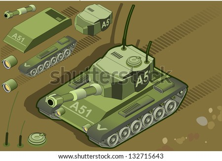 isometric tank in front view