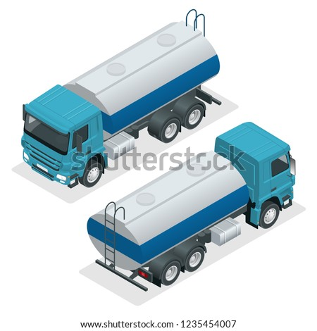 Isometric Tanker truck vector. Petroleum tanker, petrol truck, white cistern, oil trailer isolated on white background.
