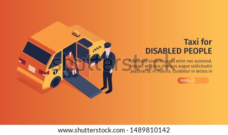 Isometric taxi horizontal banner with editable text more button and image of taxi passenger on wheelchair vector illustration