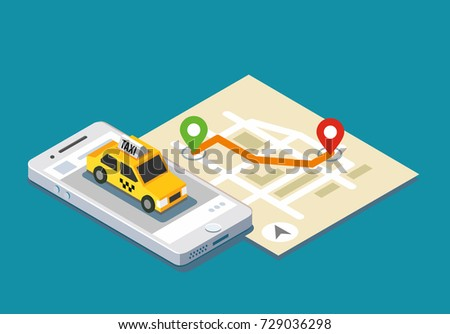 Isometric taxi location and map. Mobile app and geo tracking.