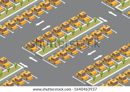isometric taxi parking vector