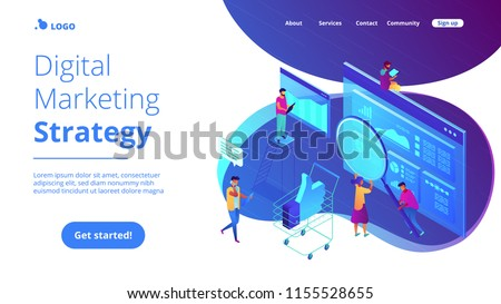 Isometric team of specialists working on digital marketing strategy landing page. Digital marketing, digital technologies concept. Blue violet background. Vector 3d isometric illustration.