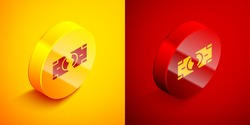 Isometric Tearing apart money banknote into two peaces icon isolated on orange and red background. Circle button. Vector