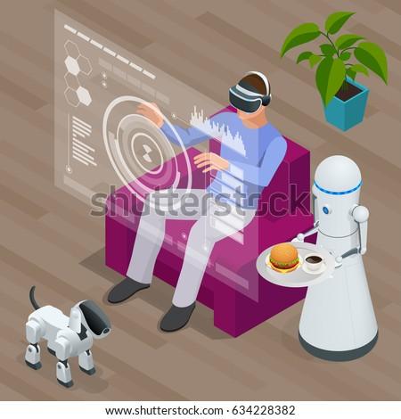 isometric techno robots and man