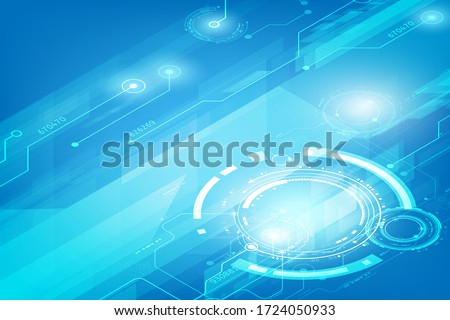 Isometric tecnology  circuit with gear placed on a blue background Foto stock ©