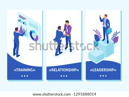 Isometric Template app Businessman at the top of the world, entrepreneurs compete for leadership, smartphone apps.