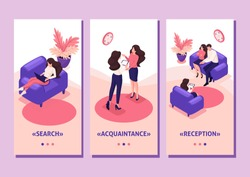 Isometric Template app concept spouses at the reception of psychologist, conflict in the family, smartphone apps
