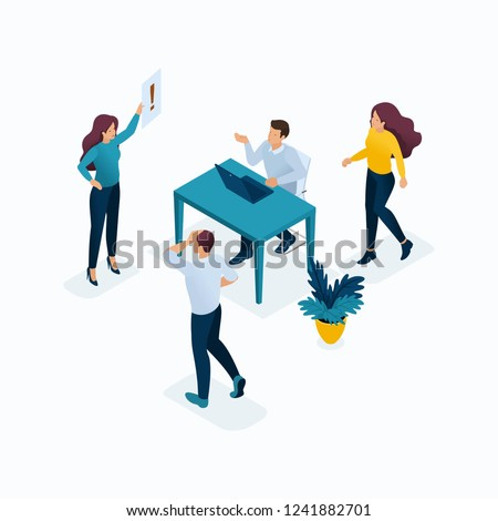 Isometric templates, the head shouts at subordinates, misunderstanding, anger, the person grabs the head. Stressful situation in the workplace. Concepts for the website.