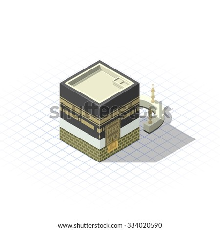 isometric the sacred mosque in