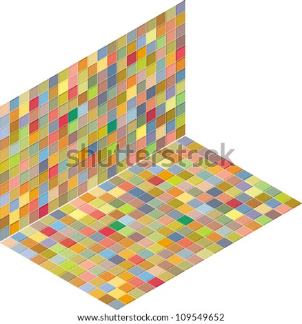 isometric tile pattern mixed color backdrop