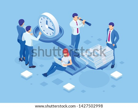 Isometric Time is Money concept. Concept save time, Money saving. Financial investments, revenue increase, budget management, savings account.