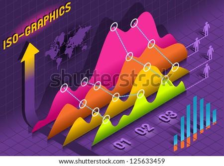 Isometric Time Series Plot Economic Big Data Statistic Set Elements