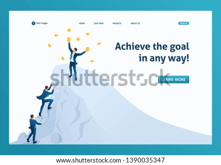Isometric to achieve success, to achieve the goal, to be on top of the mountain. Template landing page