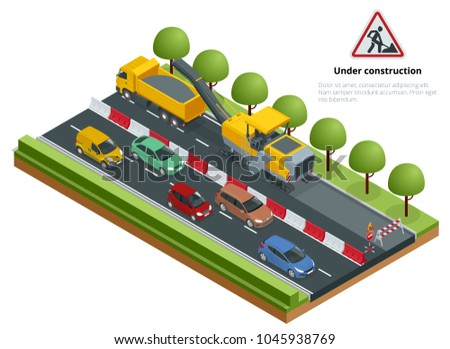 Isometric traffic on the road, road repairs concept. Cold milling machine removing asphalt layer on a road.