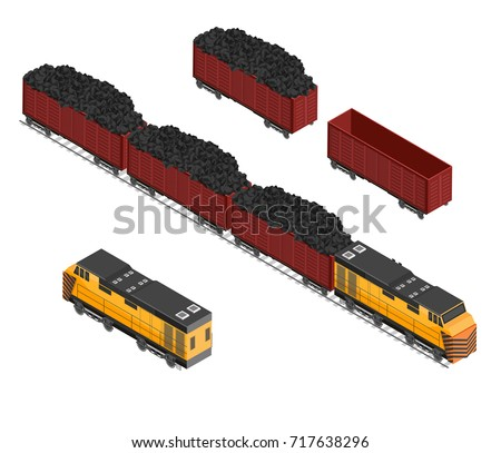 Isometric train coal and mining cargo vector illustration background