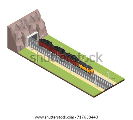 Isometric train railroad coal vector illustration background